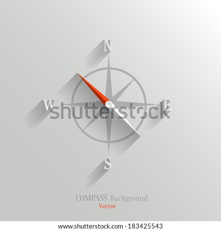 Abstract vector compass icon with shadow in flat style - stock vector