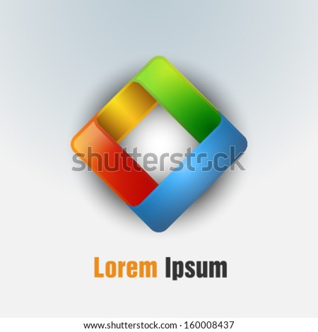 Abstract vector corporate icon. Rhombus. - stock vector