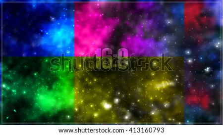 Abstract vector cosmic galaxy background with nebula, stardust, bright shining stars and color squares. Vector illustration for your design. Format 16:9. - stock vector