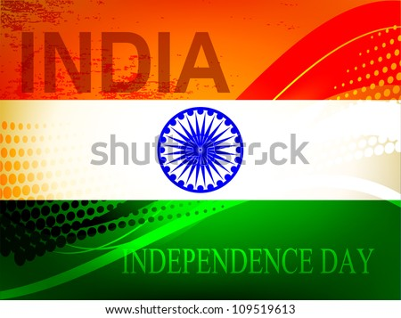Abstract vector creative Indian flag color background with wave and halftone for Independence Day, Republic Day occasion. - stock vector