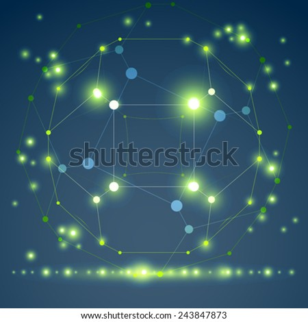 Abstract vector 3D wireframe object, clear eps 10. - stock vector