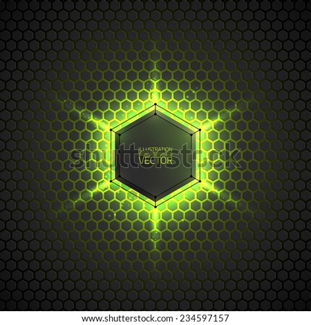 Abstract vector dark background with neon light. Vector background for web, applications, business. Vector abstract sci-fi illustration. Vector polygons  - stock vector