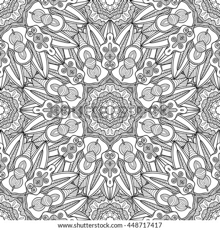 Abstract vector decorative ethnic mandala black and white seamless pattern. - stock vector
