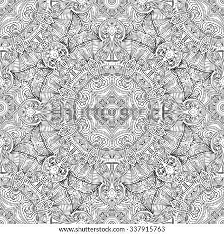 Abstract vector decorative ethnic mandala sketchy seamless pattern.  - stock vector
