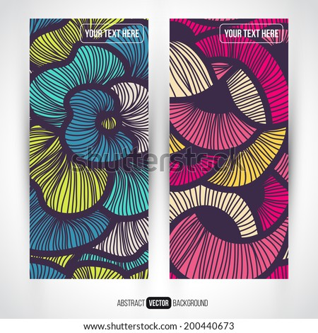 Abstract vector decorative vertical banners set. Series of image. Template frame design for card. Abstract backgrounds. - stock vector