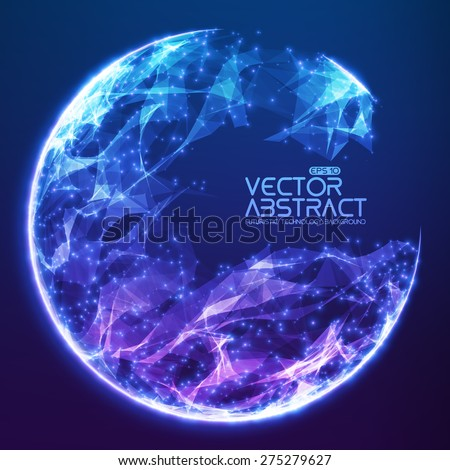 Abstract vector demolished sphere background. Futuristic technology style. Elegant background for business presentations. Destroyed sphere. eps10 - stock vector