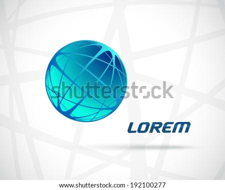 Abstract Vector Design Template. Creative Round Blue Concept Icon - stock vector