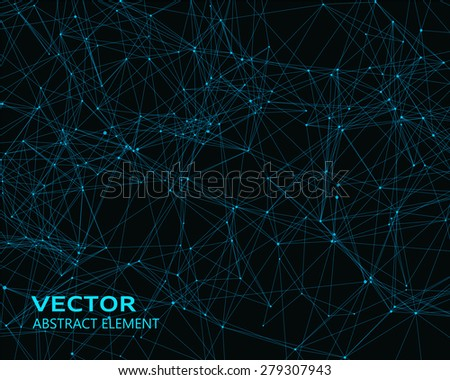 Abstract vector digital background with blue geometric particles - stock vector