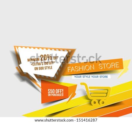 Abstract Vector Discount Banner Design template - stock vector