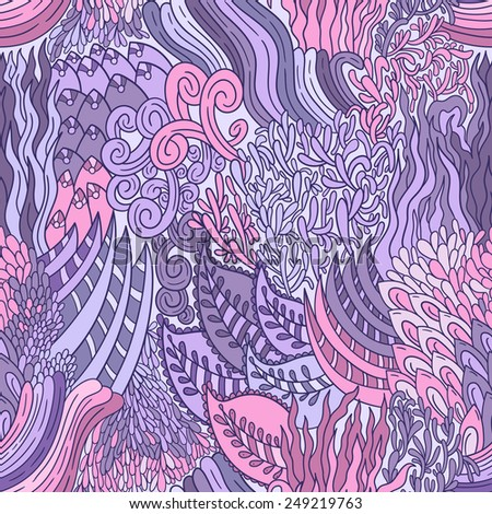 Abstract vector doodle pattern with ornament. Seamless background with ethnic and sea motifs. Repeating bright purple and pink floral backdrop. - stock vector