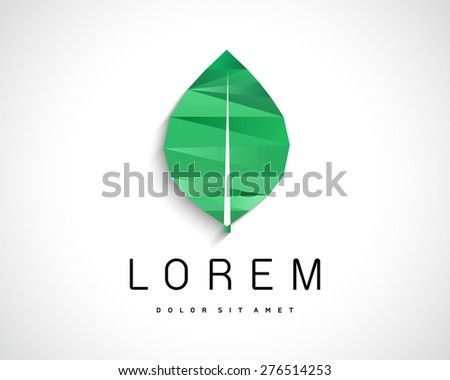 Abstract Vector Eco Green Leaf Logo Design Template. Creative Ecology Concept Icon - stock vector