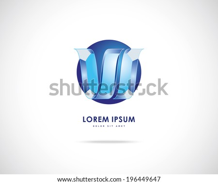 Abstract Vector Emblem Design Template. Creative Blue Round Concept Icon. Combination of Letter W - stock vector