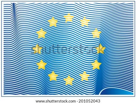 Abstract vector EU flag - stock vector