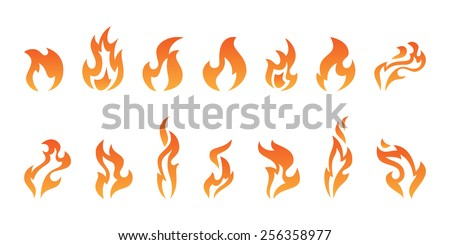Abstract vector fire icons - stock vector