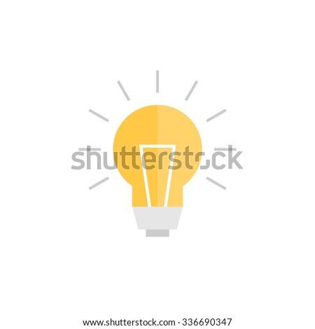 Abstract vector flat design lightbulb - stock vector