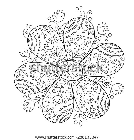 Abstract vector flower. Cute monochrome doodle flower. - stock vector