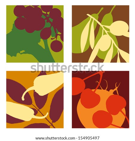 abstract vector fruit and vegetable designs set 1 - stock vector
