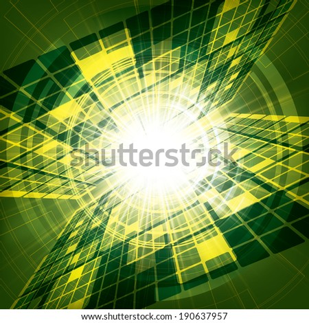 Abstract vector futuristic green bright background illustration  - stock vector
