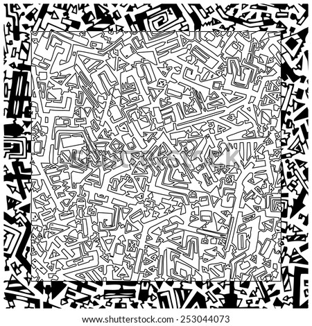 Abstract vector geometric hand drawn black and white pattern. - stock vector