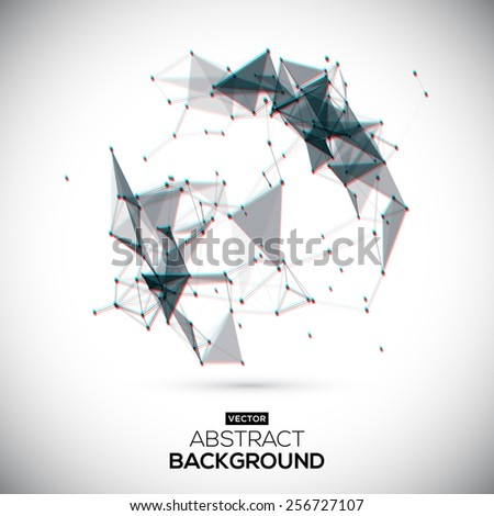 Abstract vector geometric shape with chroma aberration effect. Abstract, geometric, lowpoly vector background. - stock vector