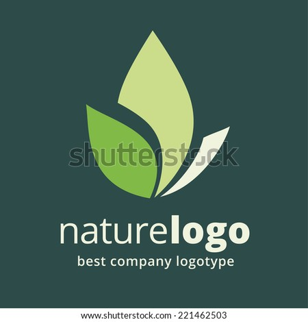 Abstract vector green flower logotype concept isolated on dark background. Key ideas is spa, beauty, design, nature, creative, health. Good for corporate identity and branding - stock vector