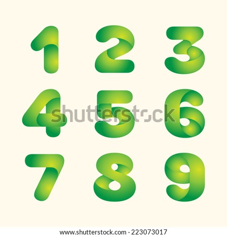 abstract vector green leaves eco font set of numbers - stock vector