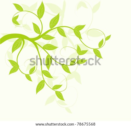 Abstract vector green leaves floral background. - stock vector