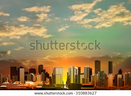 abstract vector green sunrise background with panorama of vancouver - stock vector