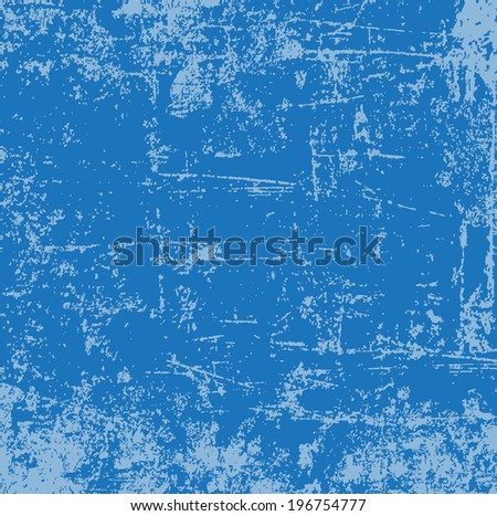 Abstract vector grunge distressed and scratched blue weathered paint background - stock vector