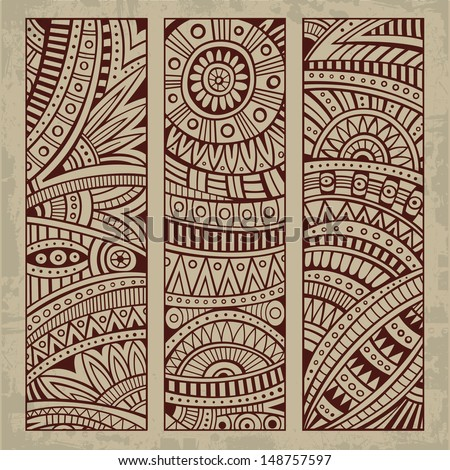 Abstract vector hand drawn vintage ethnic pattern card set. Part 2 - stock vector
