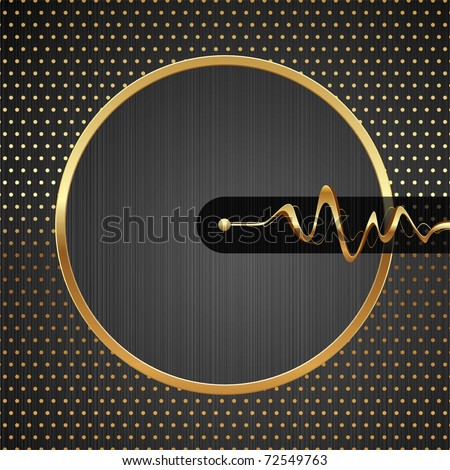 Abstract vector hi-tech illustration with golden round frame, equalizer waves & dotted pattern on a metal texture background - stock vector