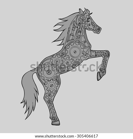abstract vector horse on its hind legs with a mechanism in the middle. horse robot. Horsepower. Mechanical pattern inside the horse. Horse-robot. monochrome - stock vector