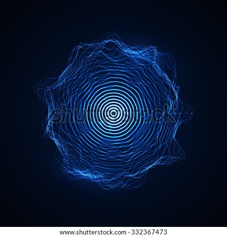 Abstract vector illuminated shape of particles array. Futuristic vector illustration. HUD element. Technology digital splash or explosion concept - stock vector