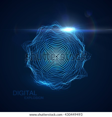 Abstract vector illuminated shape of particles array. Shape of Glowing particles, lens flare light effect. Futuristic vector illustration. HUD element. Technology digital splash or explosion concept - stock vector