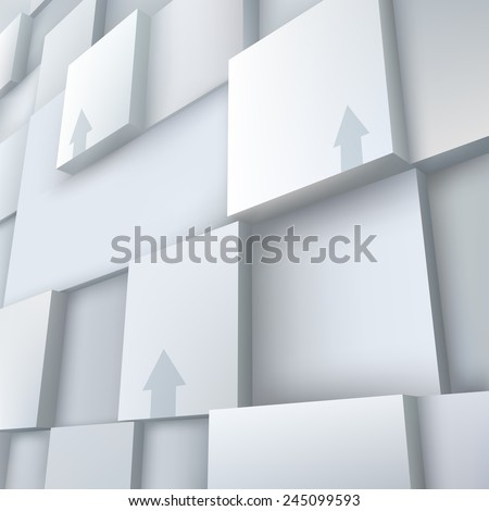 Abstract vector Illustration. Composition of 3d cubes and arrows. Background design for banner, poster, flyer, card, cover, brochure.  - stock vector