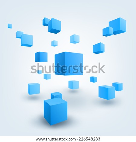 Abstract vector Illustration. Composition of 3d cubes. Background design for banner, poster, flyer, card, postcard, cover, brochure. - stock vector