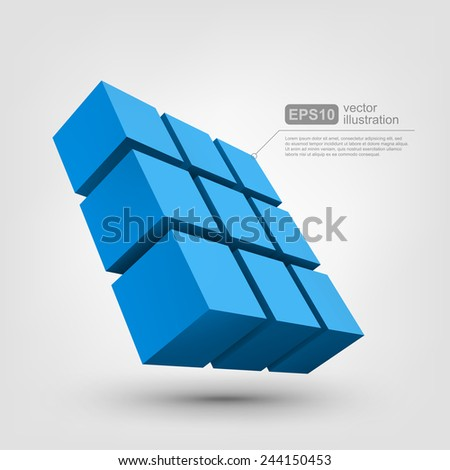 Abstract vector Illustration. Composition of 3d cubes. Background design for banner, poster, flyer, card, postcard, cover, brochure. Logo design. - stock vector