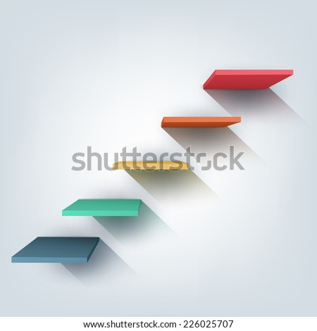 Abstract vector Illustration. Composition of 3d stairs. Background design for banner, poster, flyer, cover, brochure. Stages of learning, steps of education concept. - stock vector