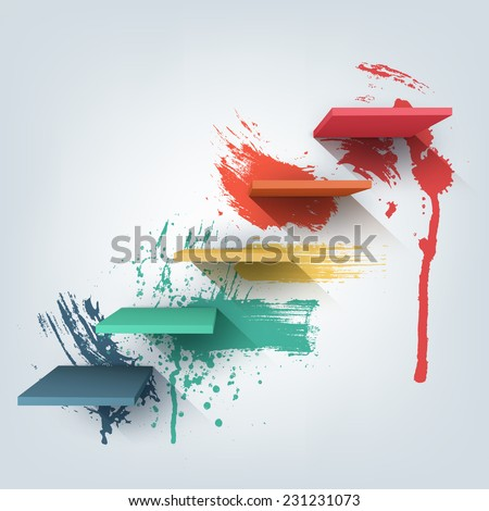 Abstract vector Illustration. Composition of 3d stairs with paint splash texture. Background pattern design for banner, flyer, cover, poster, brochure. Stages of learning, steps of education concept. - stock vector