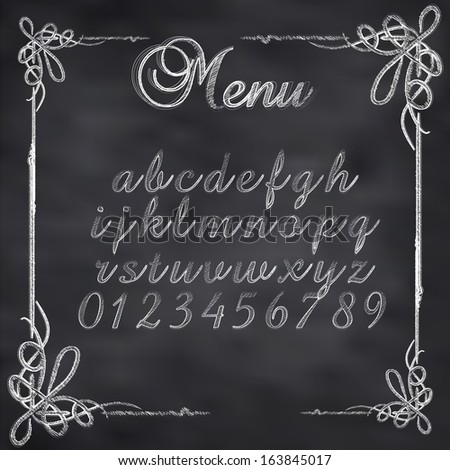 Abstract vector illustration of a chalk menu text on blackboard - stock vector