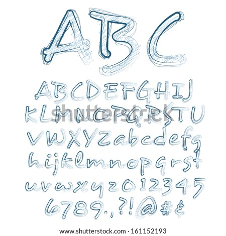 Abstract Vector Illustration Of A Sketched Alphabet - stock vector