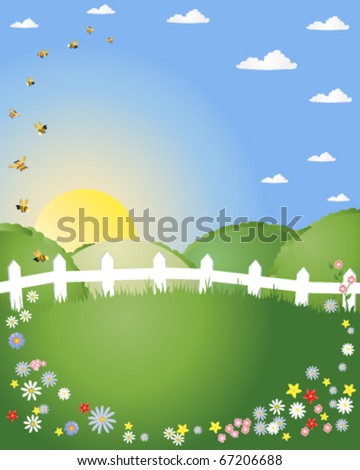abstract vector illustration of a summer landscape with green hills white picket fence and bees and flowers in eps10 format - stock vector