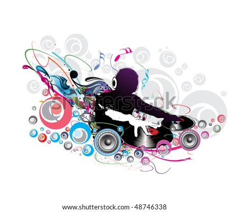 Abstract vector illustration of an dj man playing tunes with musics note background. - stock vector