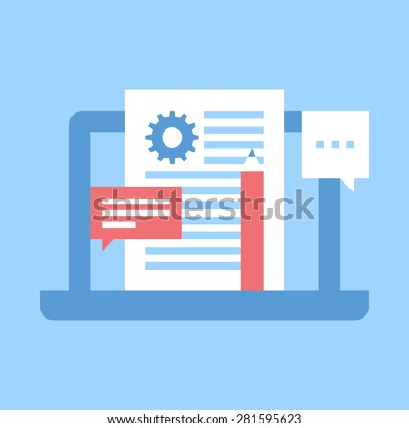 Abstract vector illustration of blog management flat design concept. - stock vector