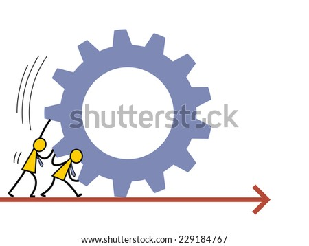 Abstract vector illustration of businessman helping each other to push the gear going forward. Business concept in partnership or teamwork working into the same direction. Simple character design.   - stock vector