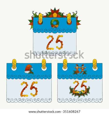 Abstract vector illustration of Christmas calendar set of 25th december decorated with mistletoe, poinsettia, wreath, garland. Hand-drawn floral objects. Isolated on white background. Eps 8. - stock vector