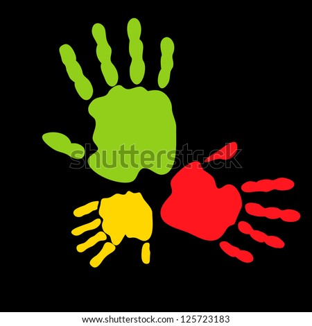 Abstract vector illustration of colored hand prints - stock vector