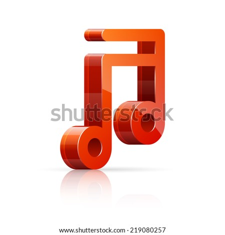 Abstract vector illustration of 3D red and glossy music note isolated on white background. - stock vector