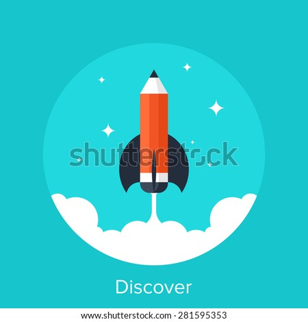Abstract vector illustration of discover flat design concept. - stock vector
