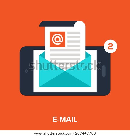 Abstract vector illustration of email flat design concept. - stock vector
